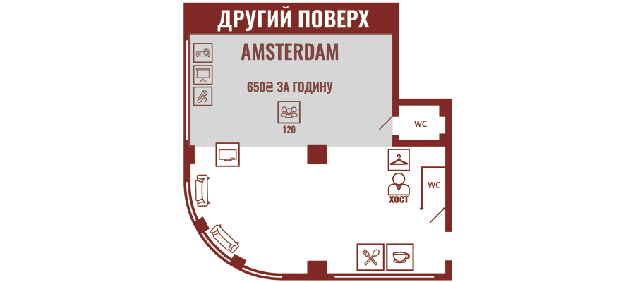 Аренда зала Amsterdam в Impact Hub Odessa